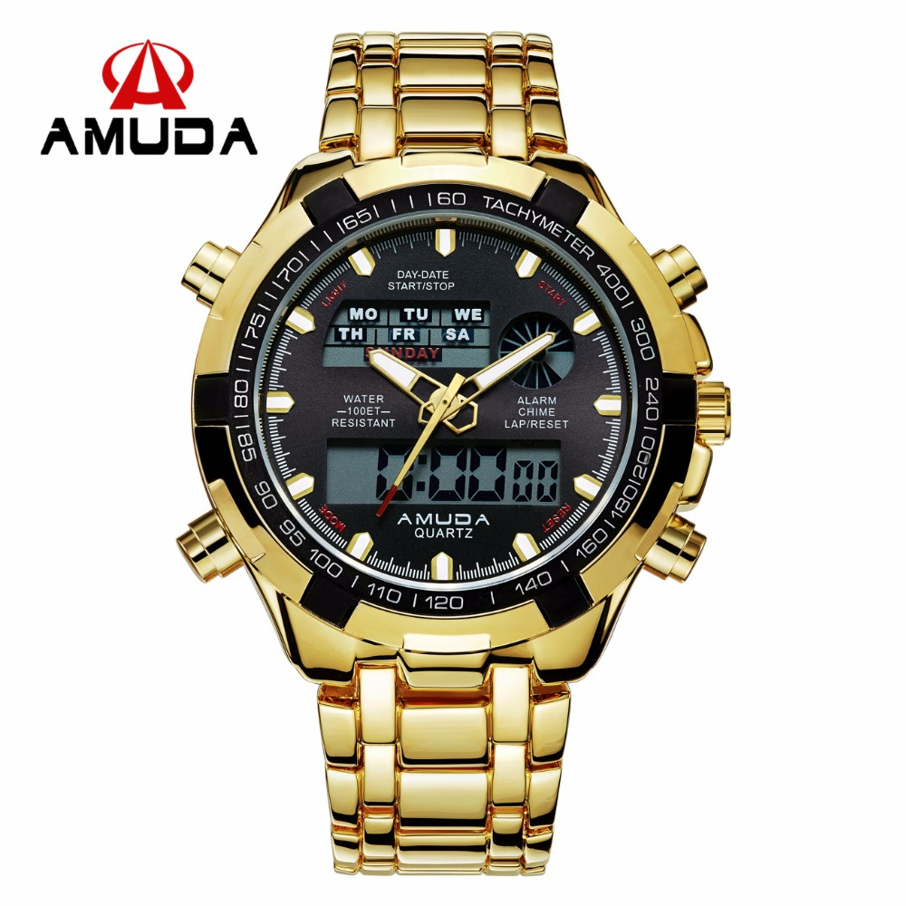 Brand AMUDA Fashion Digital Watch Men Led Full Steel Gold Mens Sports Quartz-Watch Military Army Male Watches relogio masculino hot sale brand military watch date display mens watches full steel watches men s sports army quartz watch free shipping 029b