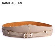 RAINIE SEAN Cummerbunds For Women Beige Pin Buckle Leather Belt Female Wide Brand Pu Fashion Solid Ladies Dress