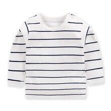 Модные полосатые топы для маленьких мальчиков; Лидер продаж; удобные осенние Топы для маленьких девочек; одежда из чистого хлопка для маленьких детей