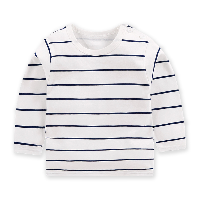 Fashion Striped Baby Boy Hot Selling Tops Baby Girl Comfortable Autumn Tops Baby Kids Pure Cotton Clothes