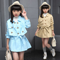 Clothing Sets for Girls Clothes Suits Children Solid Jackets+Dress Set Casual Infant Autumn Long Sleeve Coat+Vestidos Suit 6-14Y