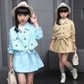 Conjuntos de ropa para niñas juegos de la ropa niños chaquetas sólidas + dress set infantil otoño de manga larga coat + vestidos casuales traje 6-14y