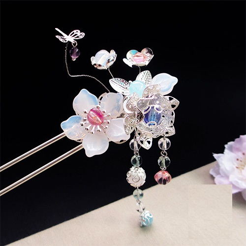 Fei Se Crystal Fluorite Petal Hair Stick Vintage Chinese Hanfu Costume Accessories Tassel Hair Stick crystal long tassel zanhuaji vintage classical hair stick for tv play legend of chinese empress wumeiniang handmade hair sticks