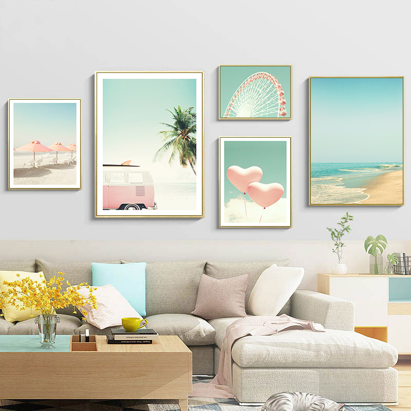 Pink Bus Sky Sea Beach Coconut Ferris wheel Nordic Posters And Prints Canvas Art Painting Wall Pictures For Living Room Decor