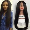 9A Llena del cordón pelucas de pelo humano para las mujeres negras Glueless pelucas del cordón Peruano virgen cabello liso cabello humano pelucas delanteras del cordón