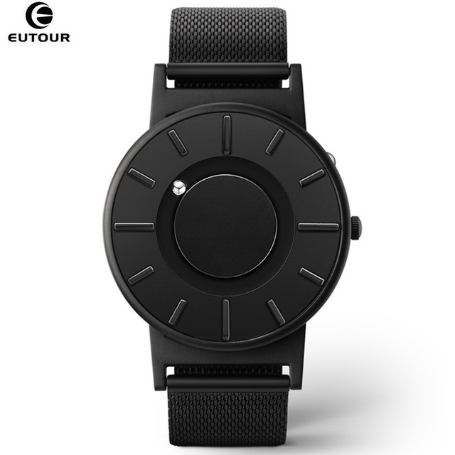 2018 New Style Watch Men EUTOUR Magnetic Ball Show Innovate WristWatches Mens Nylon Strap Quartz Watch Fashion erkek kol saati