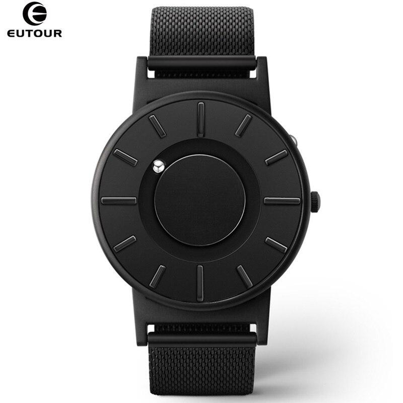 2018 reloj de nuevo estilo para hombre, EUTOUR, bola magnética, reloj de pulsera innovador, correa de nailon para hombre, reloj de cuarzo, moda erkek kol saati - 2