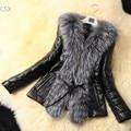 Новый! Женщины дамы искусственный мех лисы кожаное пальто верхней одежды теплая зима подражать шуба пальто черный ml XL XXL XXXL 50