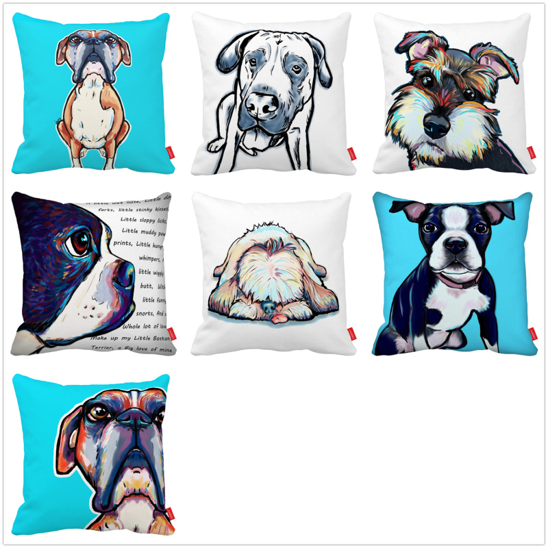 Home & Garden Home Textile Creative Schnauzer Bull Terrier Dog Rint Cushion Cover High Quality Linen Pillowcase Dropshipping
