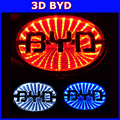 wholesale BYD 3d decorative led car logo light for car badge lamp Auto rear emblem sticker light 10sets a lots