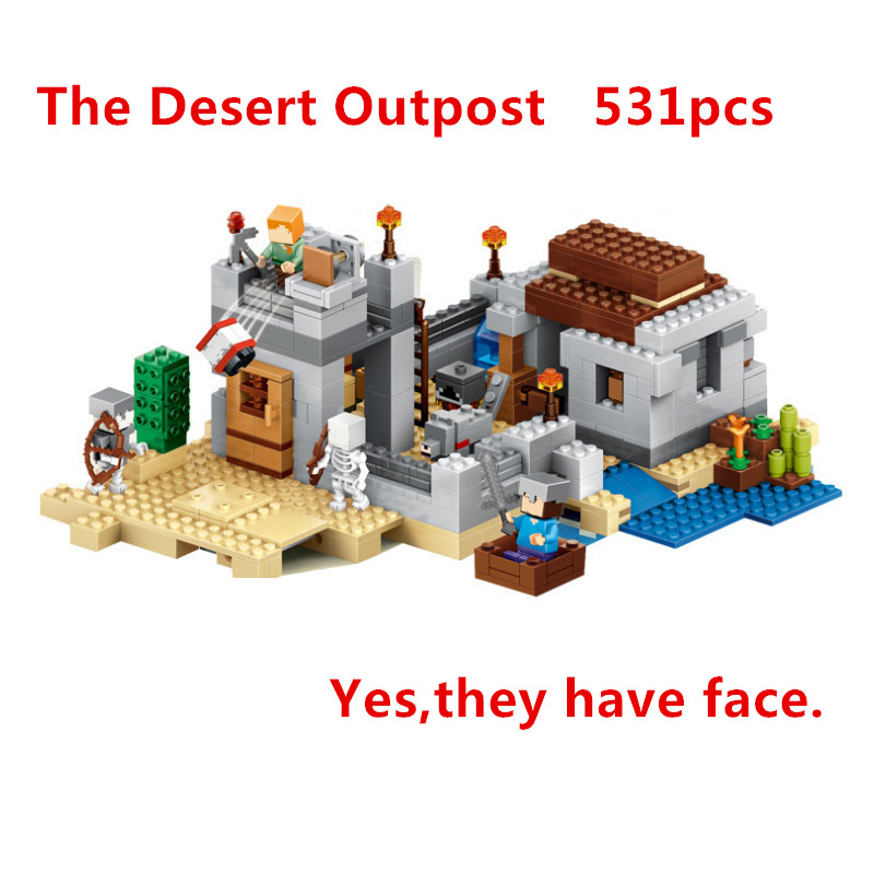 Lepin My World Minecraft 18019 531pcs The Desert Outpost action anime figures Building kits Blocks Bricks fun Toys For Children hot toys 10pcs lot generation 1 2 3 juguetes pvc minecraft toys micro world action figure set minecraft keychain anime figures