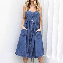 Летняя одежда для женщин, праздничное джинсовое платье с лямками, пуговицами и карманами, летнее пляжное платье миди, летнее платье, Vestido