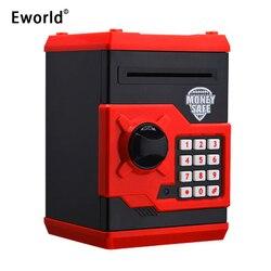 Eworld حار جديد حصالة على شكل حيوان صغير ATM حصالة سلامة كلمة السر الإلكترونية مضغ عملة آلة إيداع النقدية هدية للأطفال الأطفال