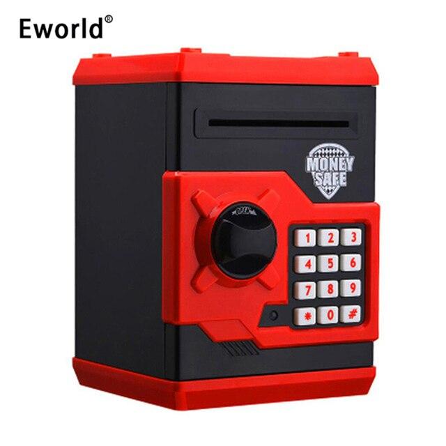 Eworld Mini hucha de seguridad para niños, caja de dinero ATM, contraseña electrónica, masticación de monedas, máquina de depósito en efectivo, regalo
