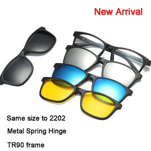 Image 4 - 4Pcs Unbreakable Clip on Sunglasses Polarized Magnetic lens Alloy Plastic TR90 Flexible Frame for Night Driving