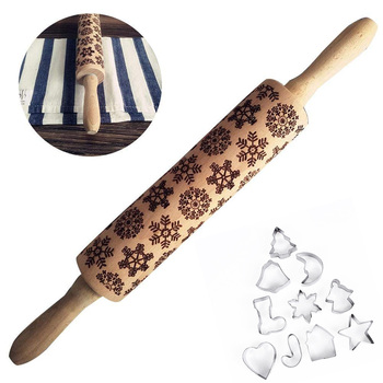 11pcs/pack Christmas Embossing Rolling Pin Baking Cookies Noodle Biscuit Fondant Cake Pasta Dough Xmas Engraved Rolling pin/mold