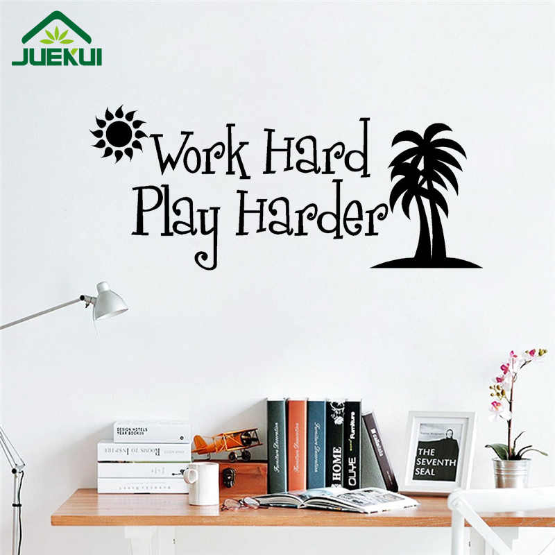 Work hard play harder quotes wall sticker kids playroom for Vinilos pared aliexpress