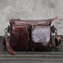 100% Genuine Leather Men Bag Vintage Leather Men's Handbags Casual Business Shoulder Bag Briefcase Messenger Travel Bag