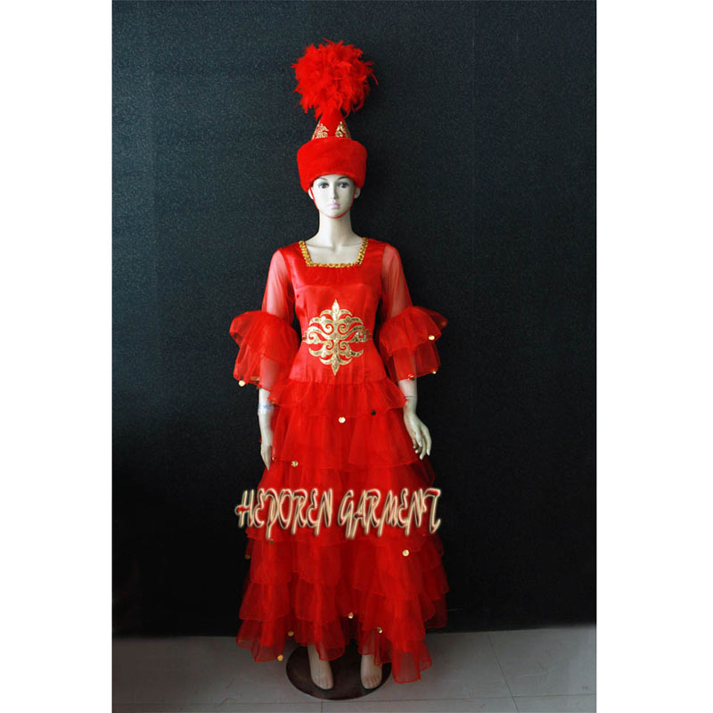High Quality Custom Made Kazak Nationality Dance Costume Dress With Headwear For Adult Or Kids,Kazak Red Dancing Dresses HD016