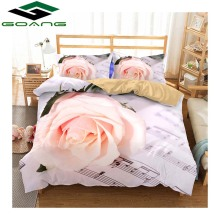 GOANG pink bedding sets 3d bed sheet duvet cover pillow case california king digital printing rose hot sell