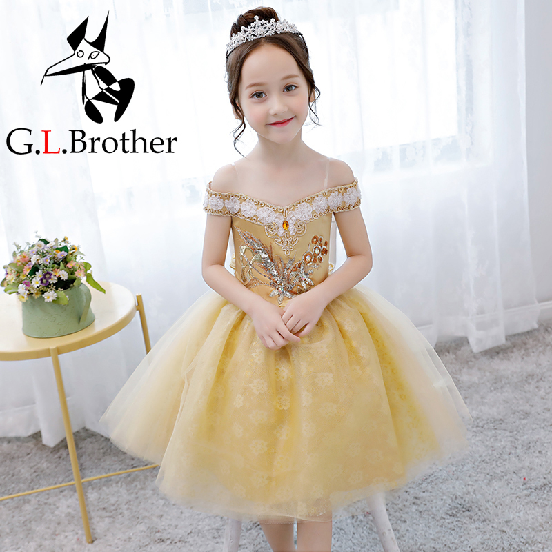 Off The Shoulder Flower Girl Dress Appliques Pageant Formal Dress Party Birthday Ball Gown Princess Dress Knee Length AA277 все цены