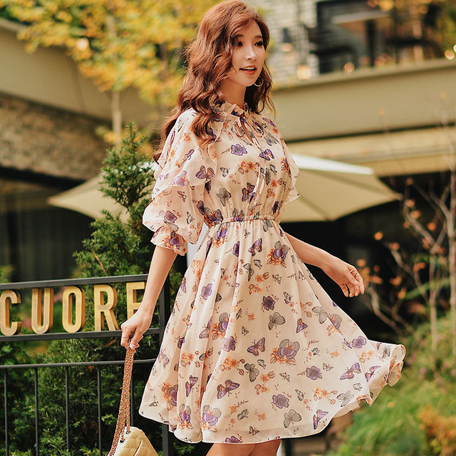 Dabuwawa Spring Butterfly Print Long Chiffon Dress For Girls Lady Women 2019 New A-Line Holiday Midi Dresses  DN1ADR014