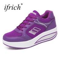 נשים ריצת נעלי ספורט למכירה תחרה עד פלטפורמת ג 'וגינג ורוד סגול גבירותיי בנות נוחות נעלי ספורט נעלי הליכה זול