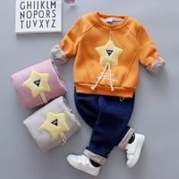 BibiCola spring autumn baby boys clothing sets party clothes cartoon star tops+denim pants sport suits plus velvet tracksuit