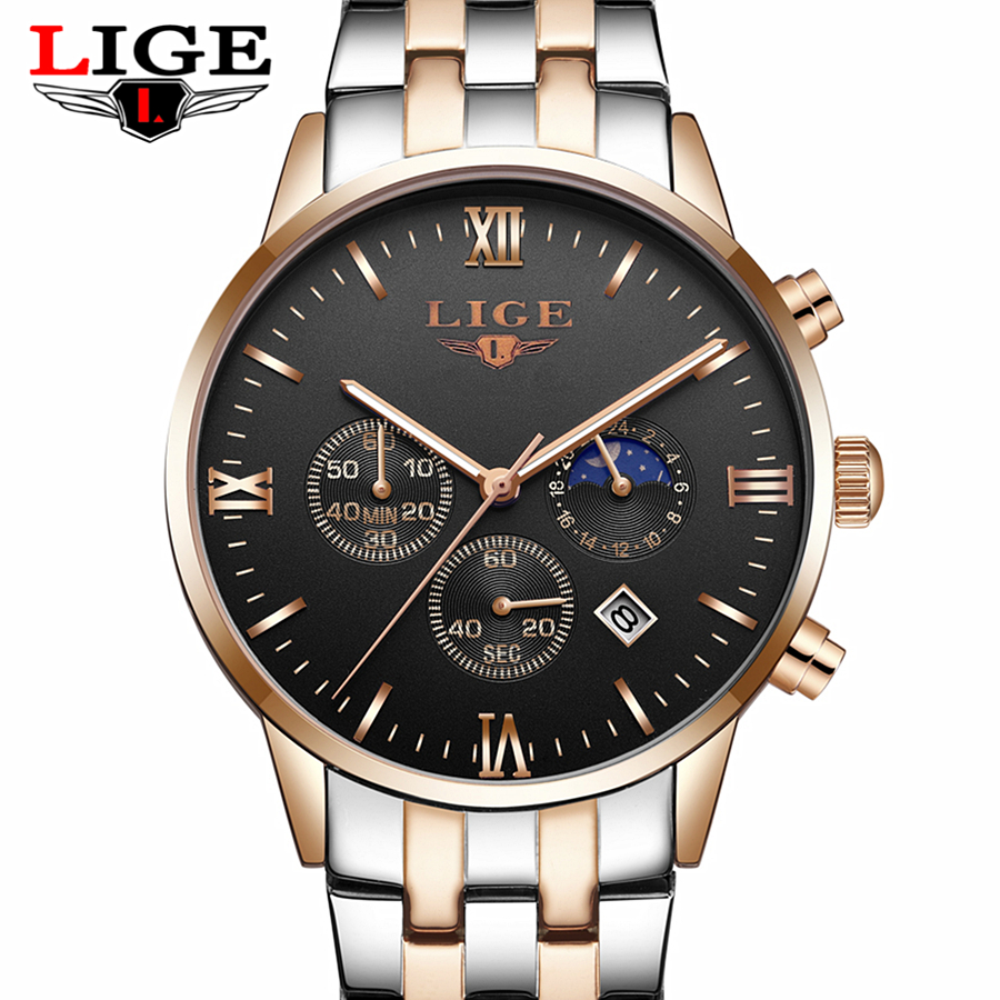LIGE Reloj Hombre Men Watches Brand Luxury Men Military Sport Wristwatch Quartz Watch Multi-function Clock Man relogio masculino