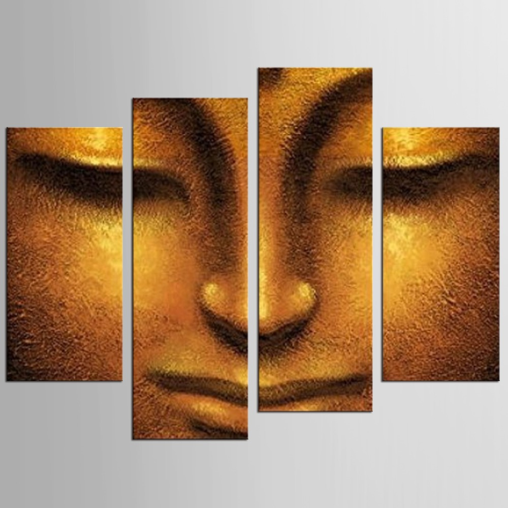 HD printed 4 piece canvas wall art Buddha meditation painting buddha statue prints