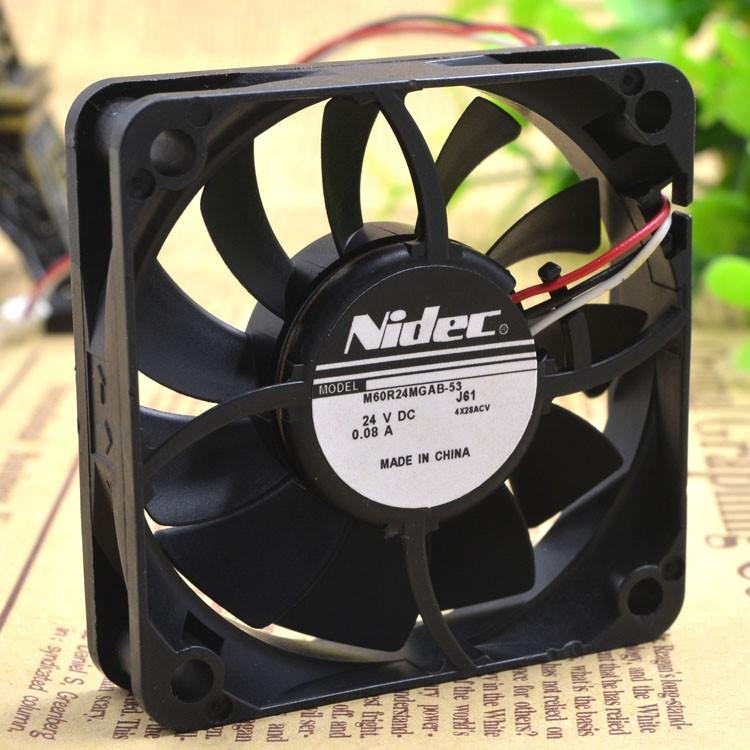 Original NIDEC M60R24MGAB-53J56 24V 0.08A 60 * 60 * 15mm 3-wire printer power supply fan