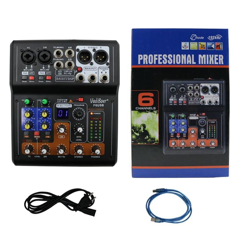 Vadiboer F6 Professional 6 Kanalen Mixer Console Met Bluetoot Effect - Draagbare audio en video - Foto 6