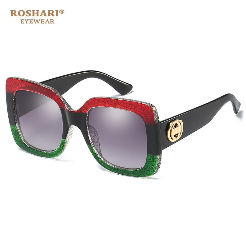 RoShari Fashion Women's Oversize Square Vintage Sunglasses Green With Red Sun Glasses Women Eyeglasses Lentes De Sol Mujer A410