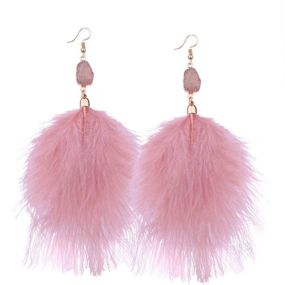 Fashion Boho Earrings For Women Temperament Fluffy Feather Dangle Pendant Statement Jewelry Ear Accessories