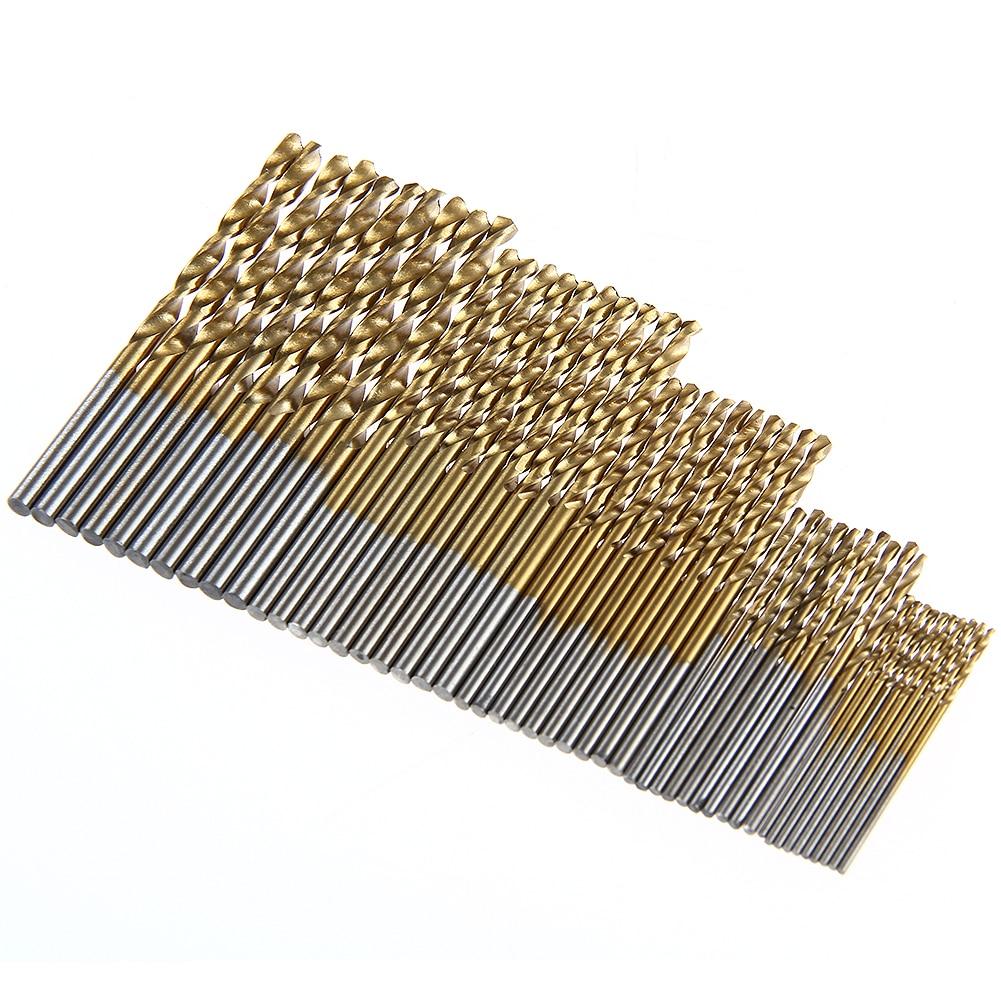 цена на 50Pcs HSS Micro Twist Drill Metric HSS Drills Micro Drill Bits Metal Wood Plastic Aluminum High Speed Steel Twist Drilling Kit
