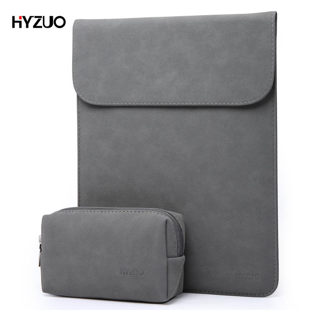 HYZUO Laptop Bag Sleeve for MacBook Pro Air 2017 2018 13 13.3 15 Inch Soft Leather Notebook Case with Small Bag for Men Women image