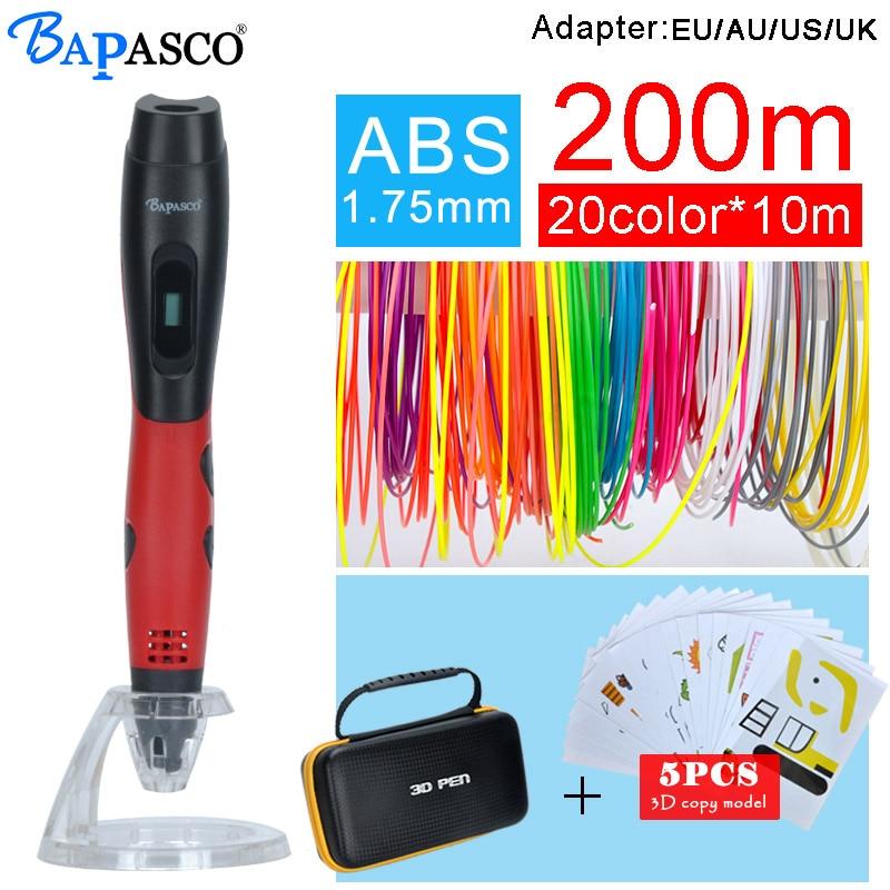 BAPASCO 3D pen bp-04 add 5pcs copy model and 1.75mm abs filament kids diy drawing pen 3D molding,5V 2A usb adapter,oled display