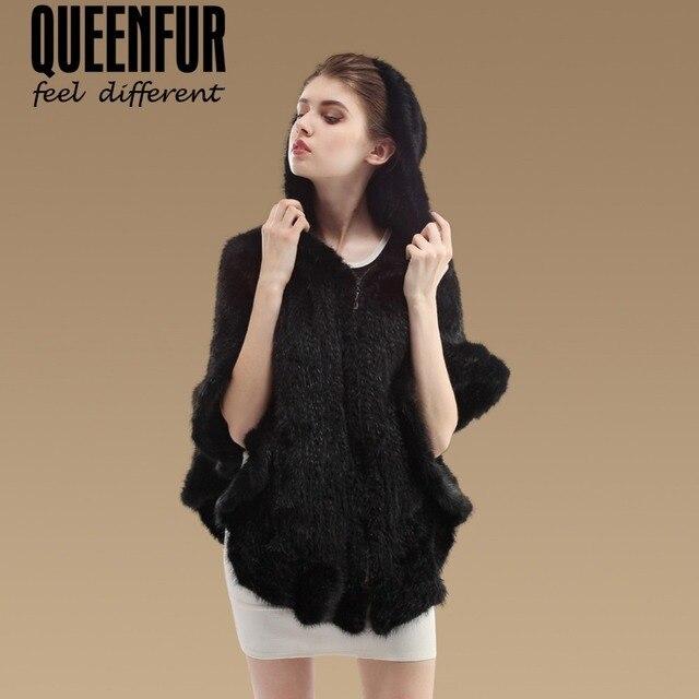 2016 Novo Genuine Malha Mink Fur Xaile Moda Real Mink Poncho Com Capuz de pele de Inverno Mulheres Poncho de Pele De Vison Naturais jaqueta