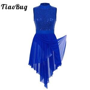 Image 1 - TiaoBug dorosłych Halter bez rękawów błyszczące cekiny gimnastyka trykot kobiety Tutu balet body łyżwiarstwo sukienka liryczne kostiumy do tańca