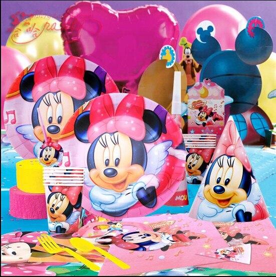 63 шт./партия тема Минни День Рождения украшения Набор принадлежностей для маленьких детей