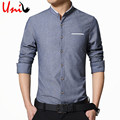 2017 New Retro Men's Dress Shirt Slim Fit Casual Shirts Men Long Sleeve Stand Collar Cotton Fashion Shirt Big Size M-5XL YN1004