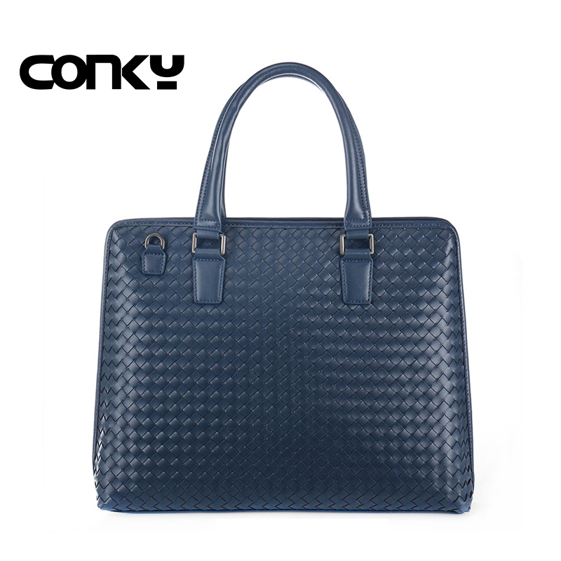 Brand New men briefcase genuine leather business bag Weave leather laptop briefcase shoulder bags men's messenger travel bags 2017 new brand crocodile genuine leather men travel bags leisure laptop solid men shoulder bag business men messenger bags a1368