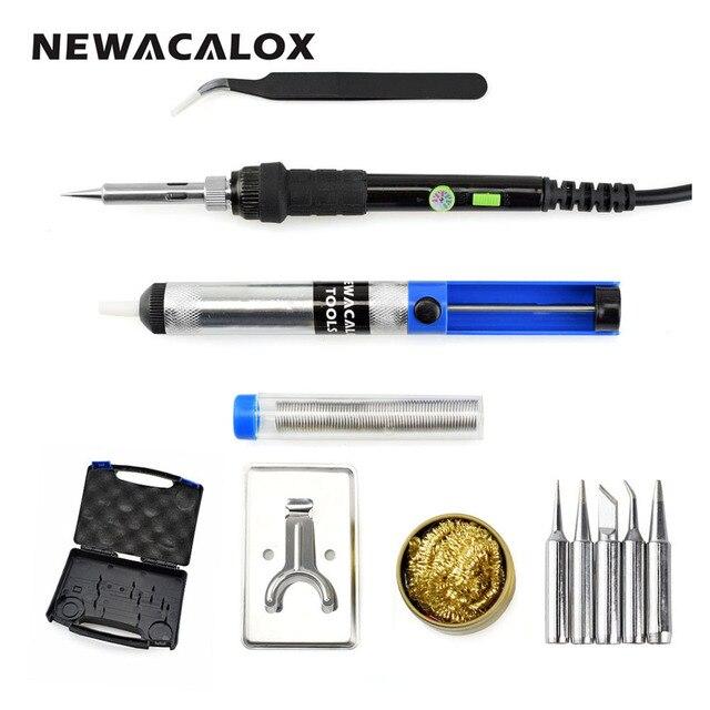NEWACALOX Регулируемый Температура паяльник Комплект 60 Вт ЕС 220 В паяльная Сварочные инструменты с Мощность переключатель припоя носить чехол