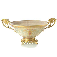 High grade Home Furnishing decoration plate classical living room decoration creative glass inlaid copper ears compote