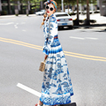 2017 Autumn Fashion Runway Dress Women Long Sleeve Elegant Blue and white porcelain Print Sequined Floor Length Maxi Long Dress