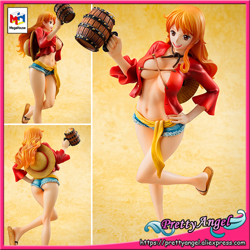 Genuine MegaHouse P.O.P / Portrait Of Pirates Excellent Model LIMITED ONE PIECE NAMI MUGIWARA Ver.2 KANPAI Collection Figure genuine megahouse p o p portrait of pirates excellent model limited one piece nefeltari vivi ver bb collection figure