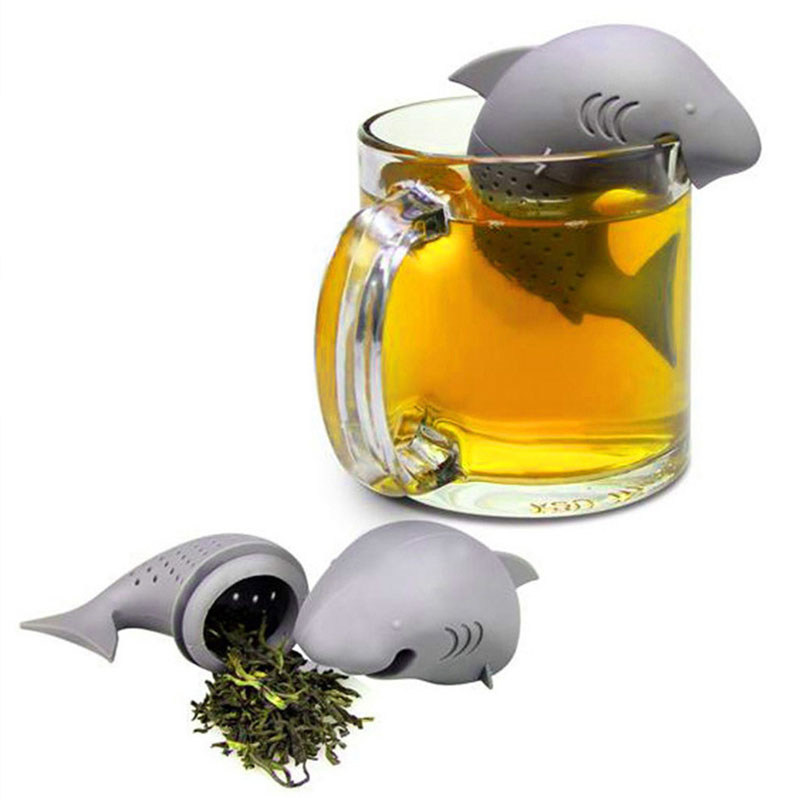 1PCS Shark Tea Infuser Silicone Strainers Tools Tea Strainer Infuser Filter Empty Bag Leaf Diffuser
