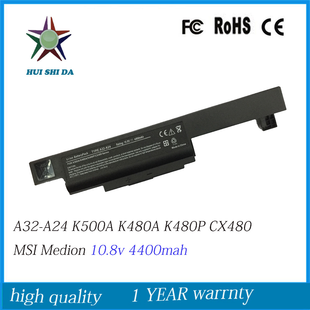 10.8V 4400mAh New Laptop Battery for <font><b>MSI</b></font> <font><b>CX480</b></font>,K480N,K480A,-i3,K480P,-i5,A480N,-i7,IB32312G50SX,K500A,<font><b>MSI</b></font> Medion,A32-A24 image