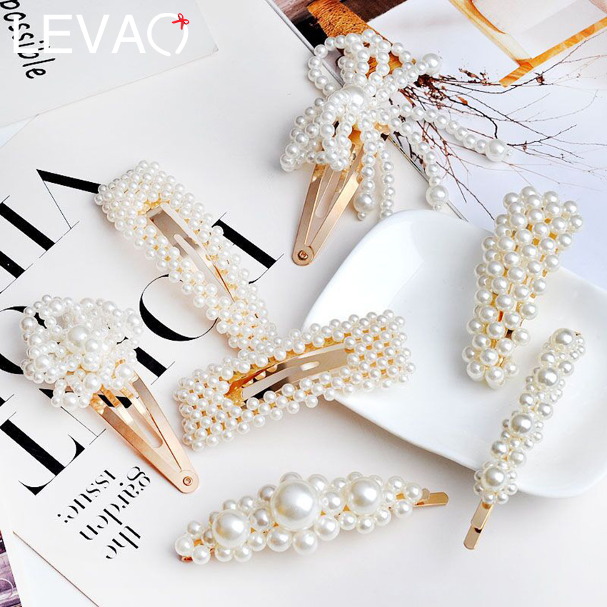 Levao 2 PCS/lot Pearl Hairpins Barrettes Chic Women Hair Clips Gold Silver Hollow Hairpin Pearls Flower Side Clip Bobby Clips