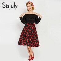 Sisjuly Women Vintage Dress Off The Shoulder Slash Neck Dresses Summer Black Patchwork Full Sleeve Cherry